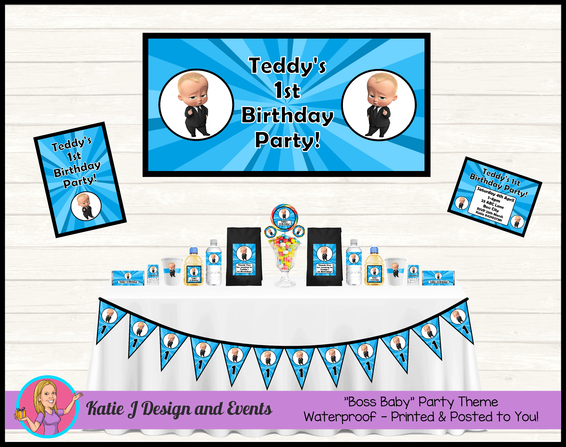 Boss Baby Personalised Party Packs Decorations Supplies