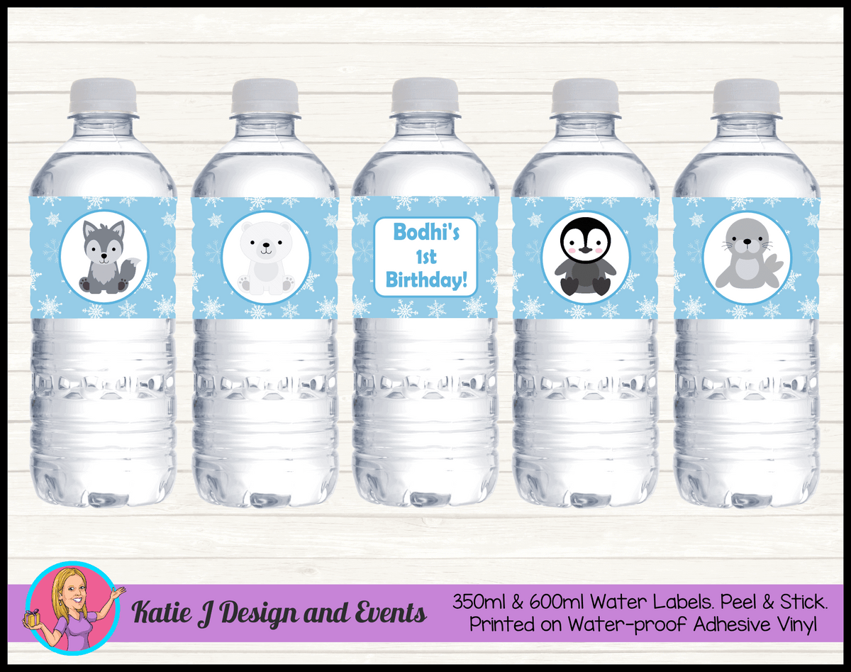 Boys Arctic Animals Personalised Birthday Party Water Bottle Labels