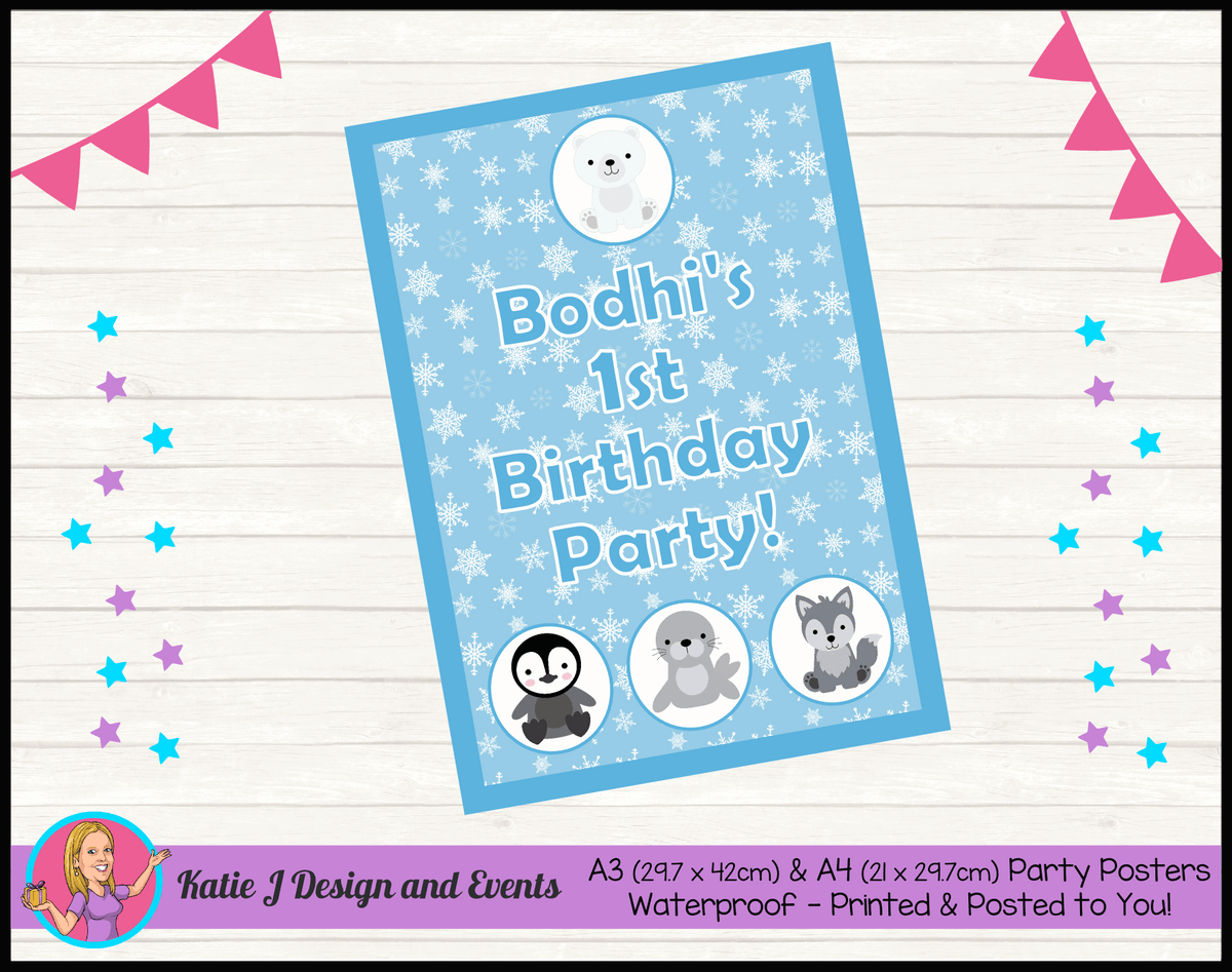 Boys Arctic Animals Personalised Birthday Party Poster