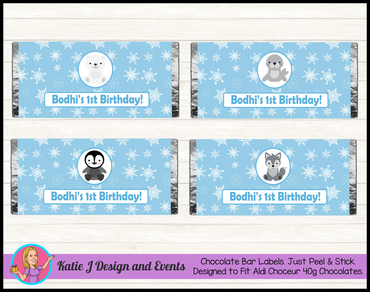 Boys Arctic Animals Personalised Birthday Party Chocolate Wrappers Labels