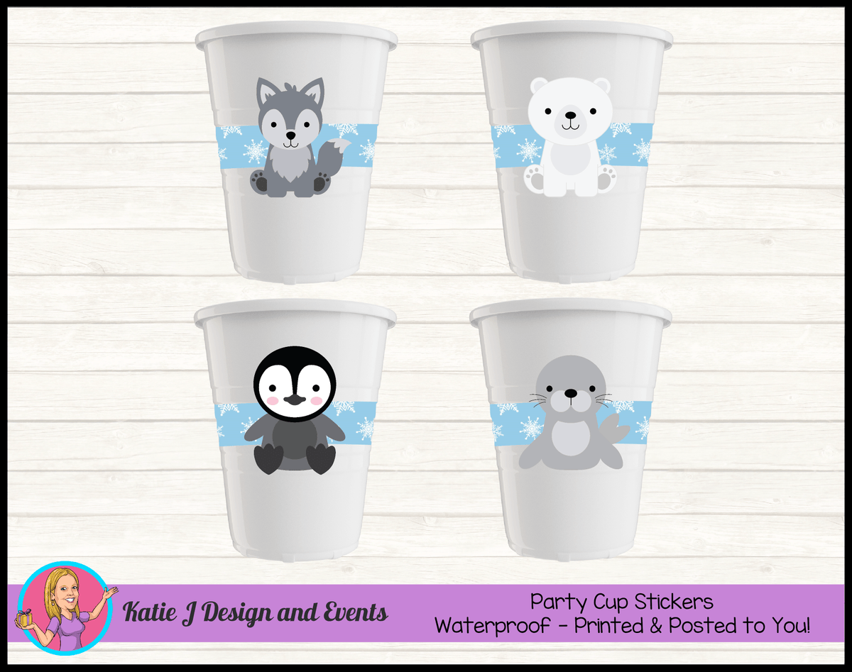 Boys Arctic Animals Personalised Birthday Party Cup Stickers Cups
