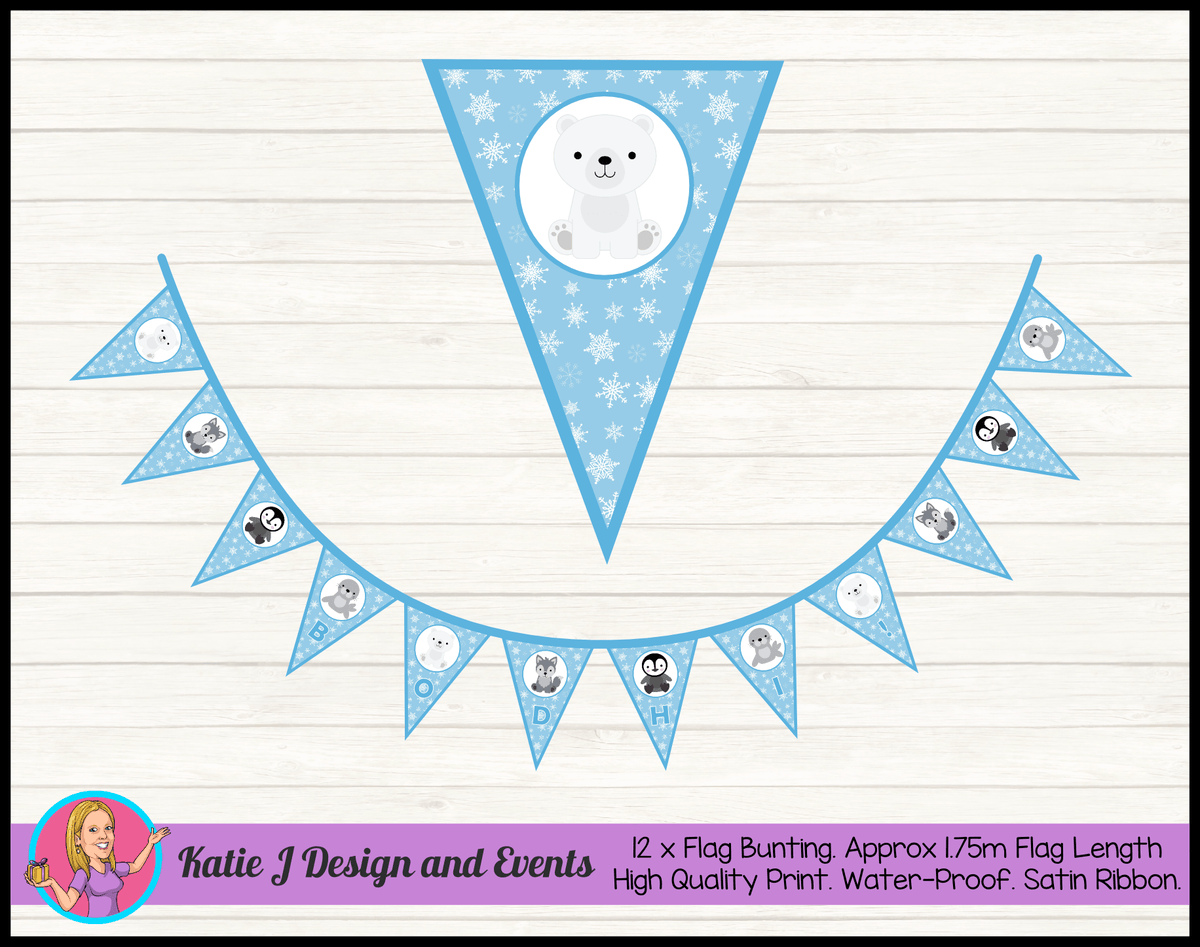 Boys Arctic Animals Personalised Birthday Party Flag Bunting Name
