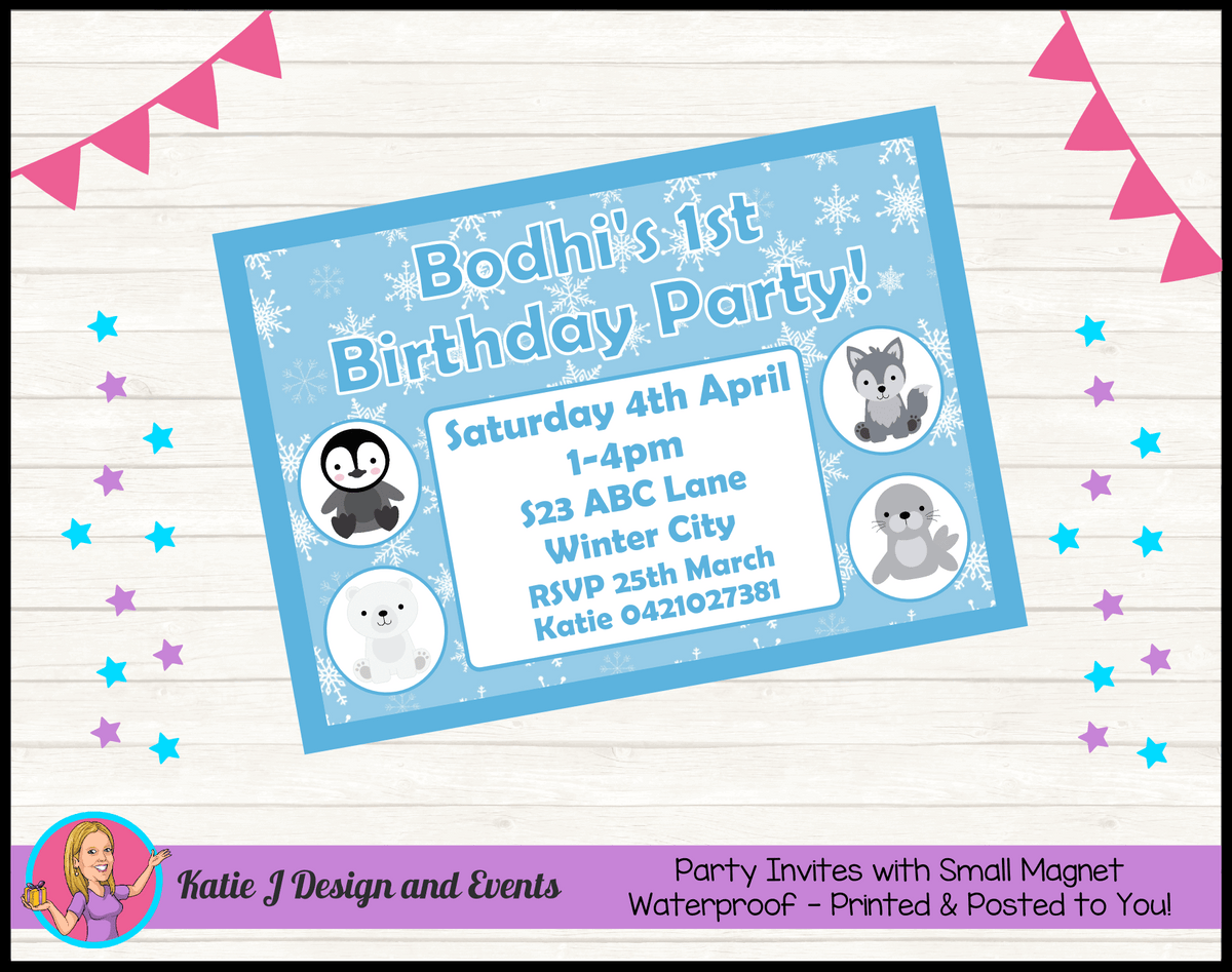 Boys Arctic Animals Personalised Birthday Party Invites Invitations