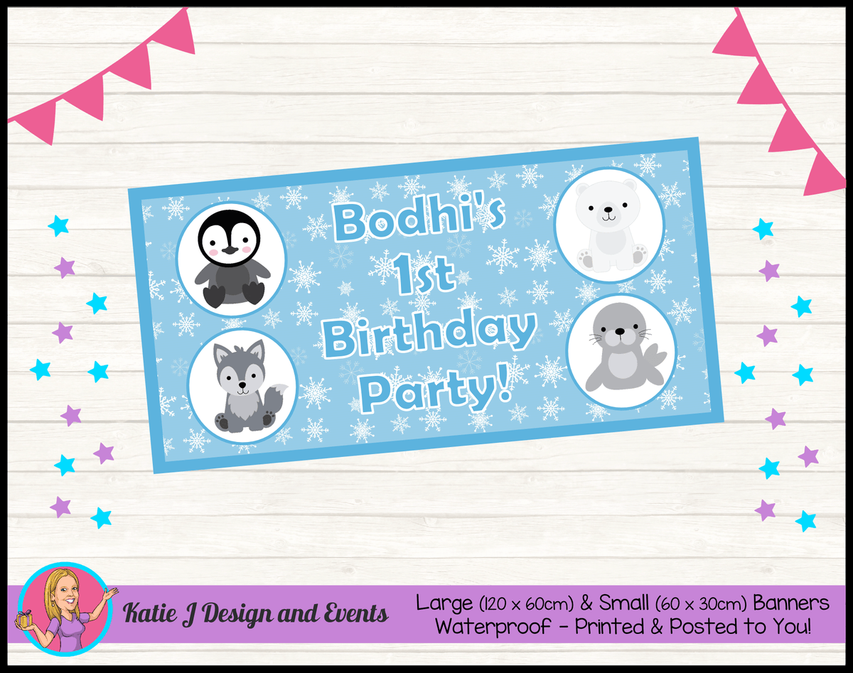 Boys Arctic Animals Personalised Birthday Party Banners