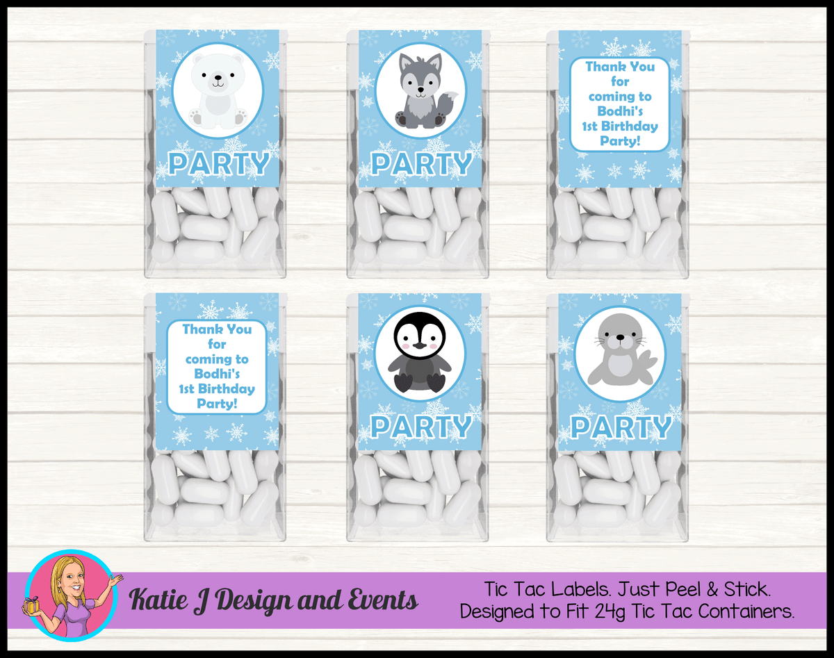 Boys Arctic Animals Personalised Birthday Party Tic Tacs Mint Labels