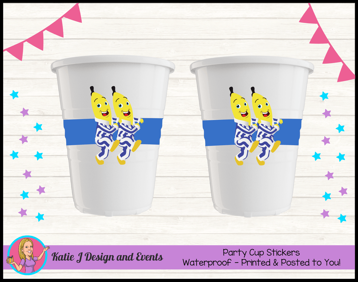 Boys Bananas in Pyjamas Personalised Birthday Party Cup Stickers Cups