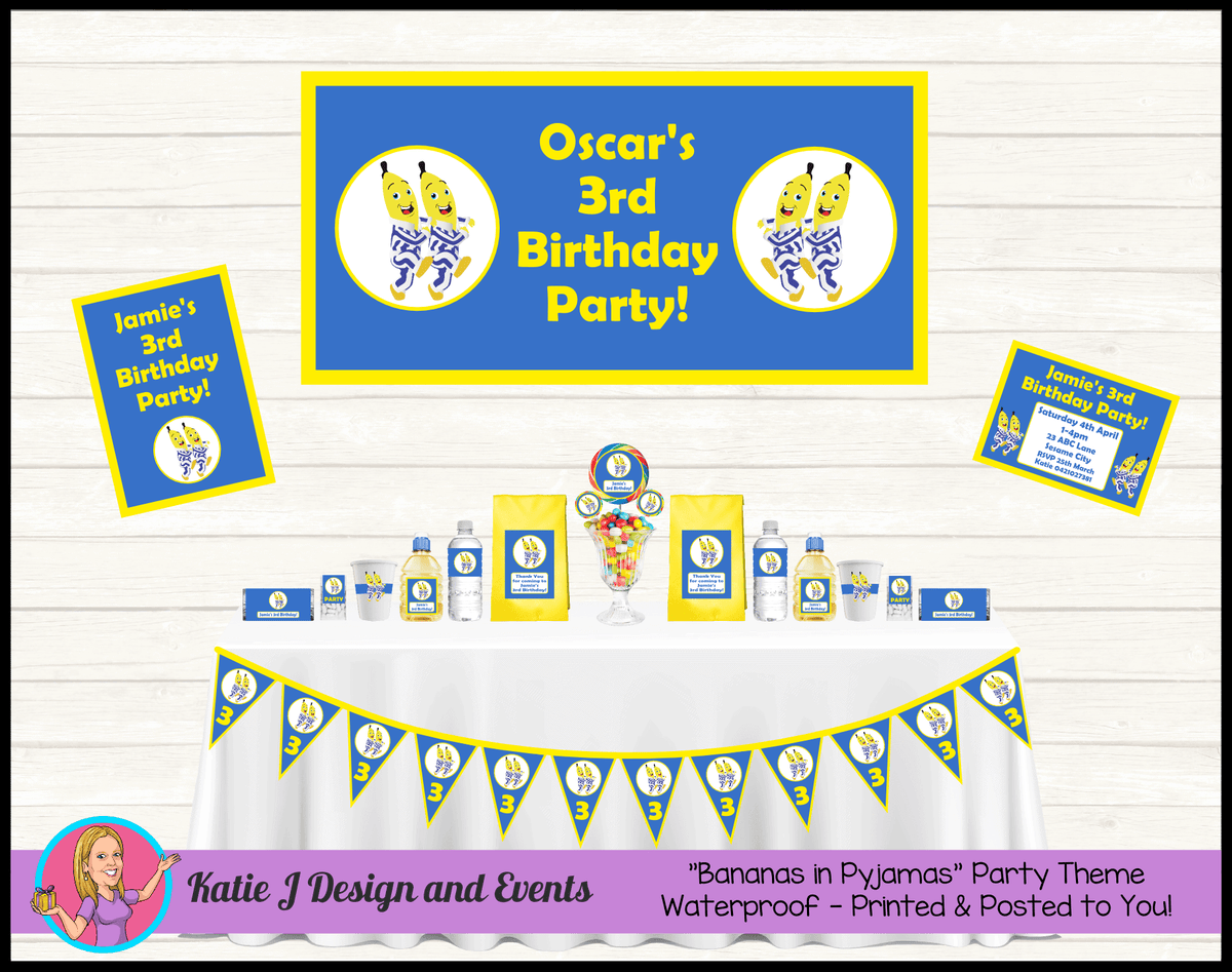Boys Bananas in Pyjamas Personalised Party Packs Decorations Supplies