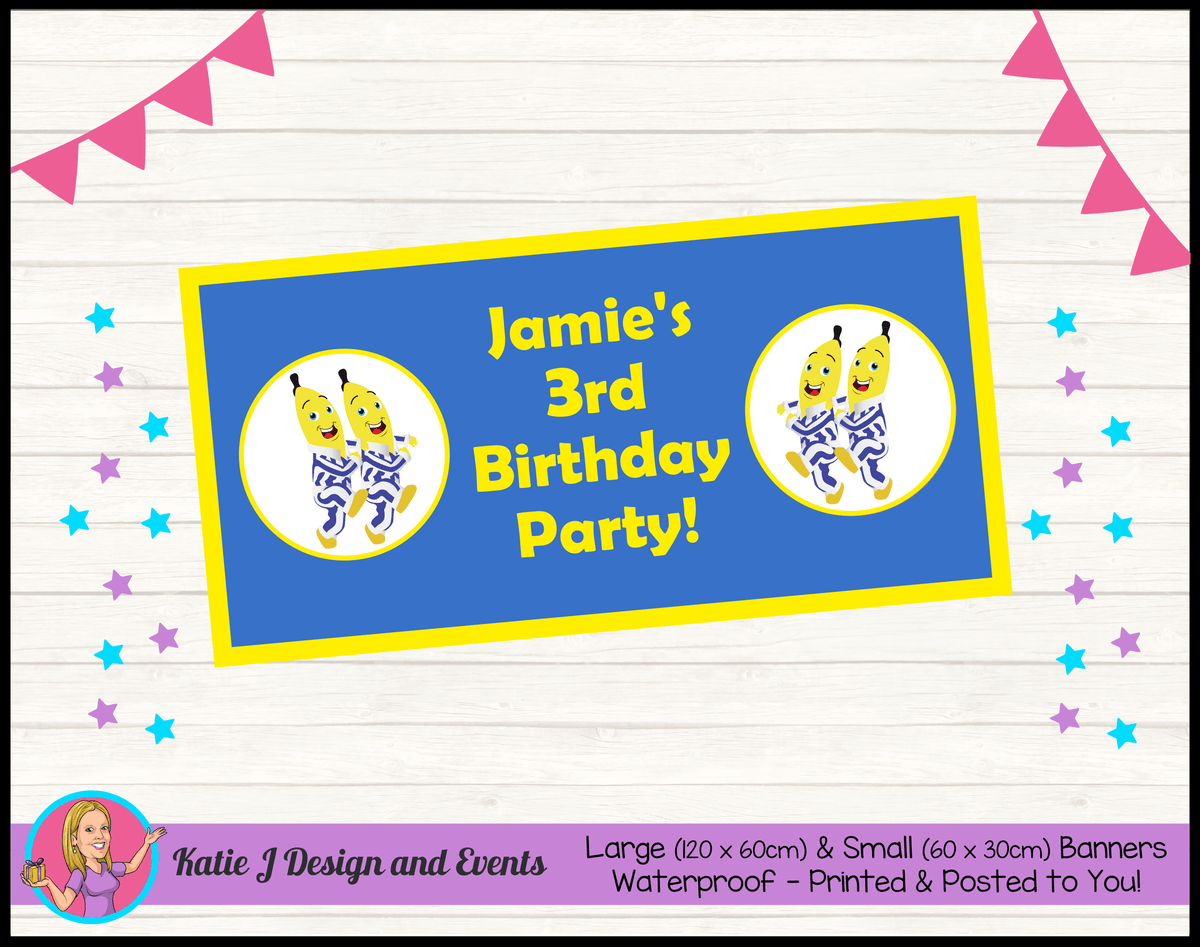 Boys Bananas in Pyjamas Personalised Birthday Party Banners