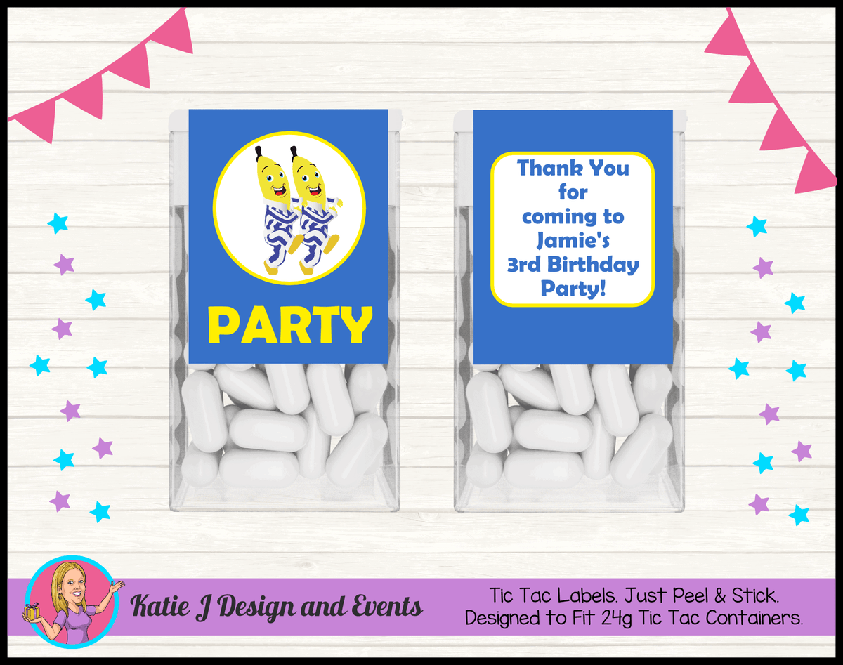 Boys Bananas in Pyjamas Personalised Birthday Party Tic Tac Labels