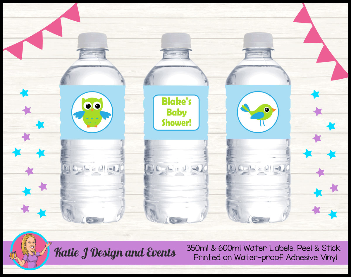 Boys Birds & Owls Personalised Baby Shower Water Bottle Labels