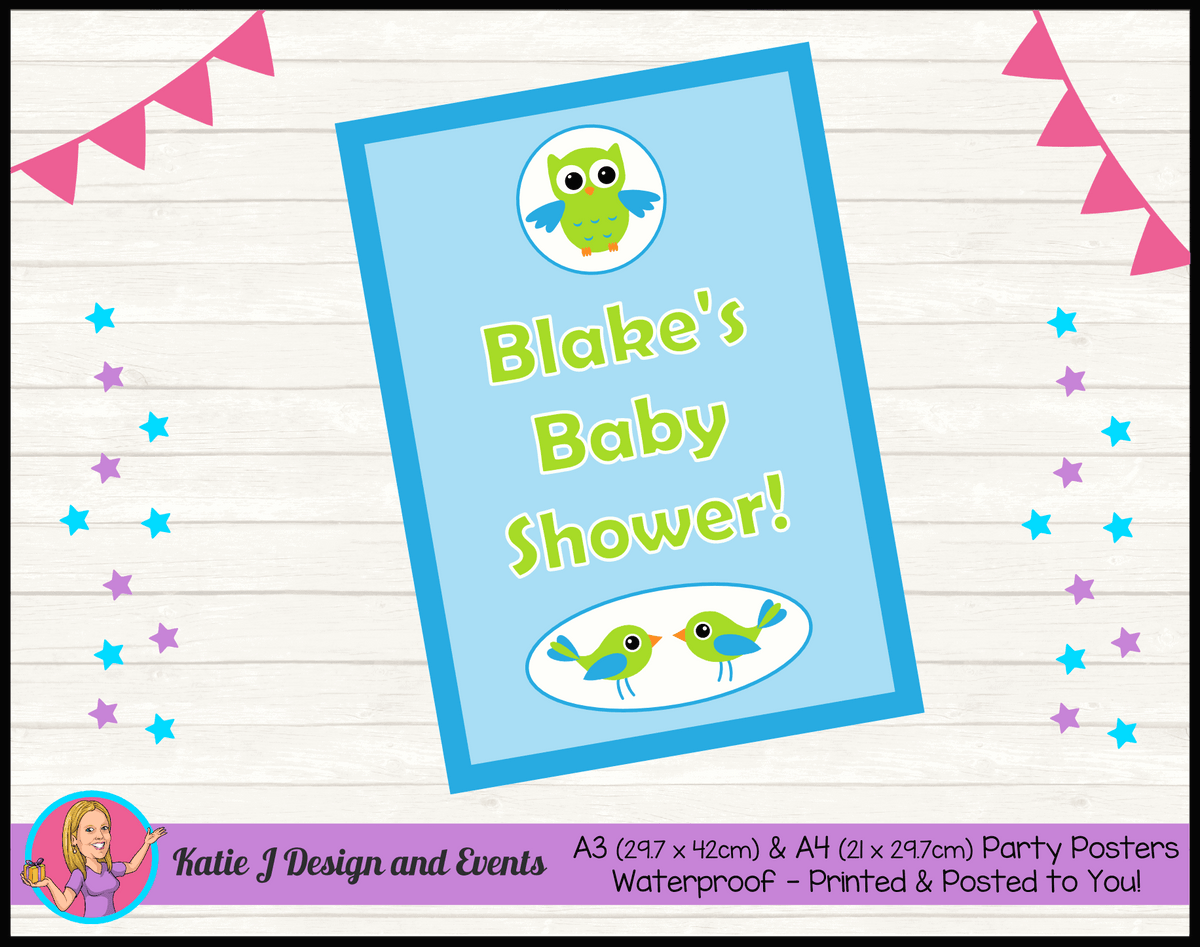 Boys Birds & Owls Personalised Baby Shower Poster