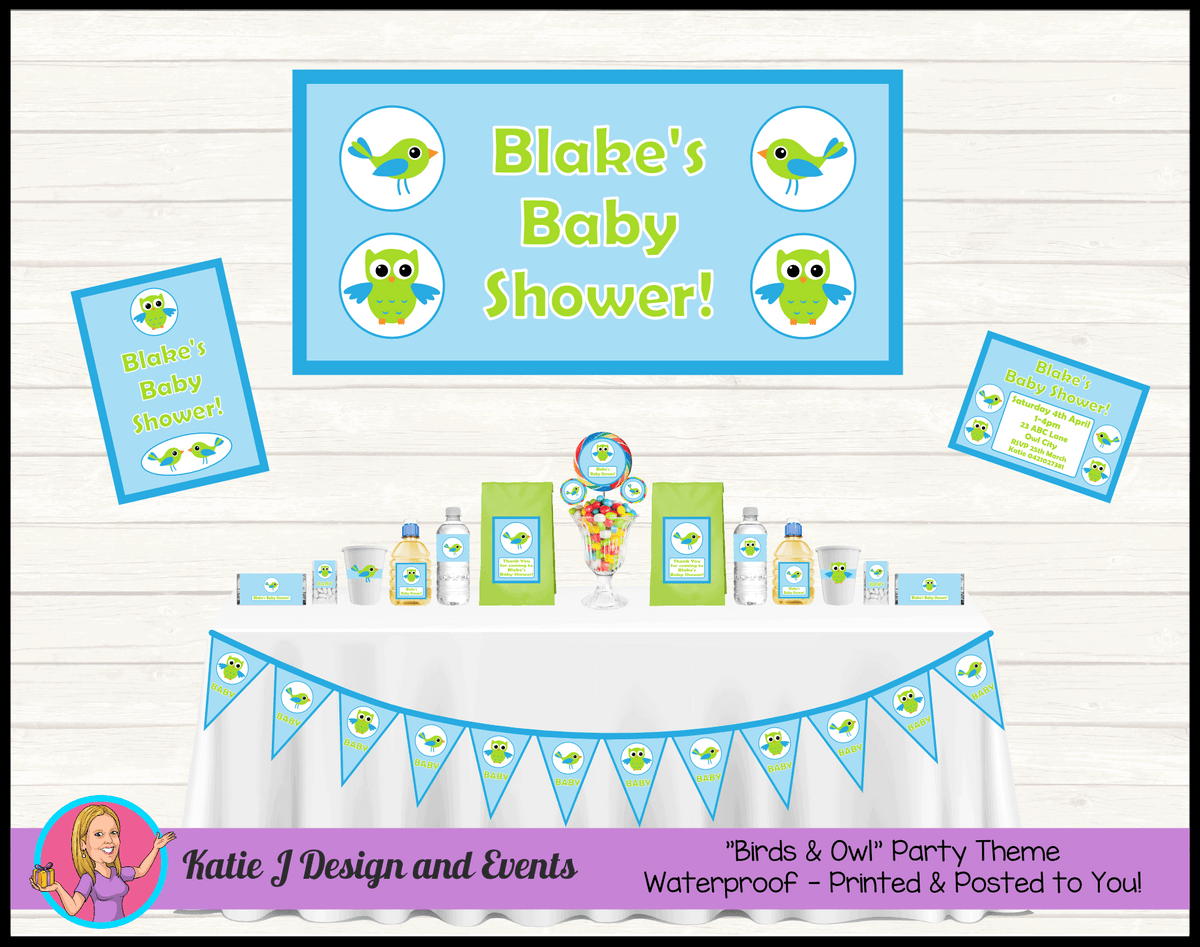 Boys Birds & Owls Baby Shower Packs Decorations Supplies
