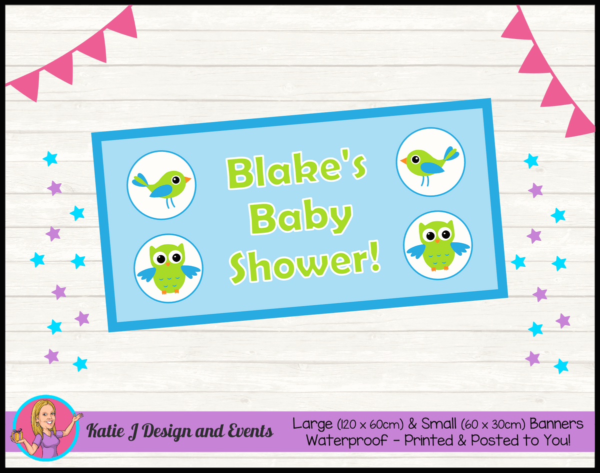 Boys Birds & Owls Personalised Baby Shower Banners