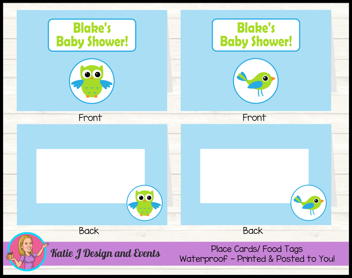 Boys Birds & Owls Personalised Baby Shower Place Cards