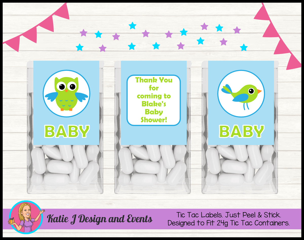 Boys Birds & Owls Personalised Baby Shower Tic Tac Mint Labels