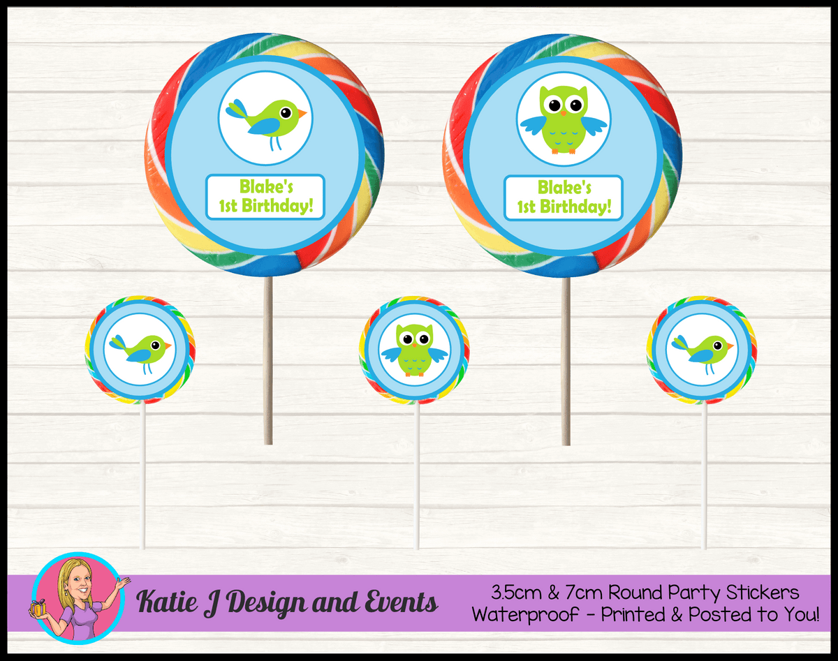 Boys Birds Owl Personalised Birthday Party Round Lollipop Stickers