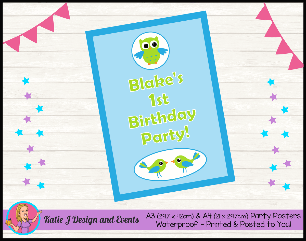 Boys Birds Owl Personalised Birthday Party Posters