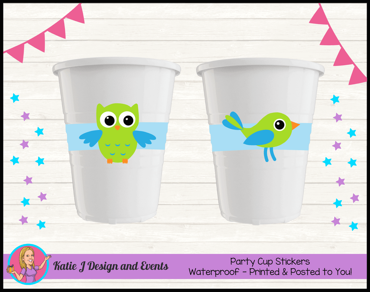 Boys Birds Owl Personalised Birthday Party Cup Stickers Cups