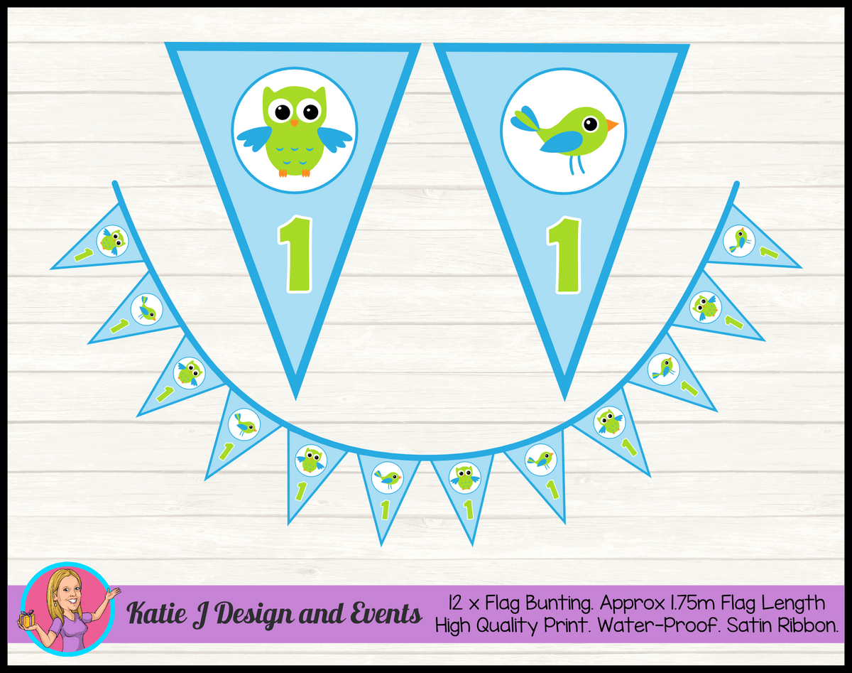 Boys Birds Owl Personalised Birthday Party Flag Bunting