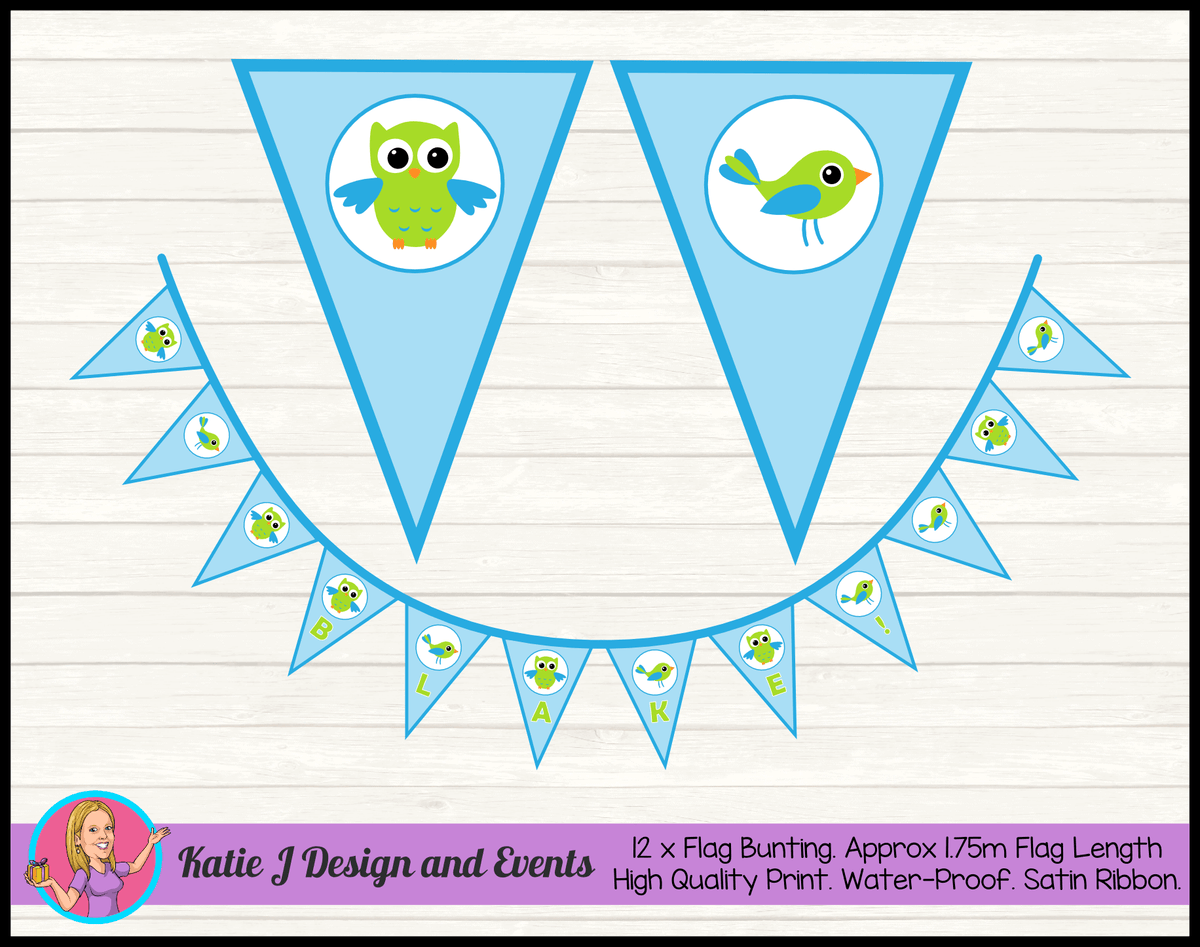 Boys Birds Owl Personalised Birthday Party Flag Bunting Name