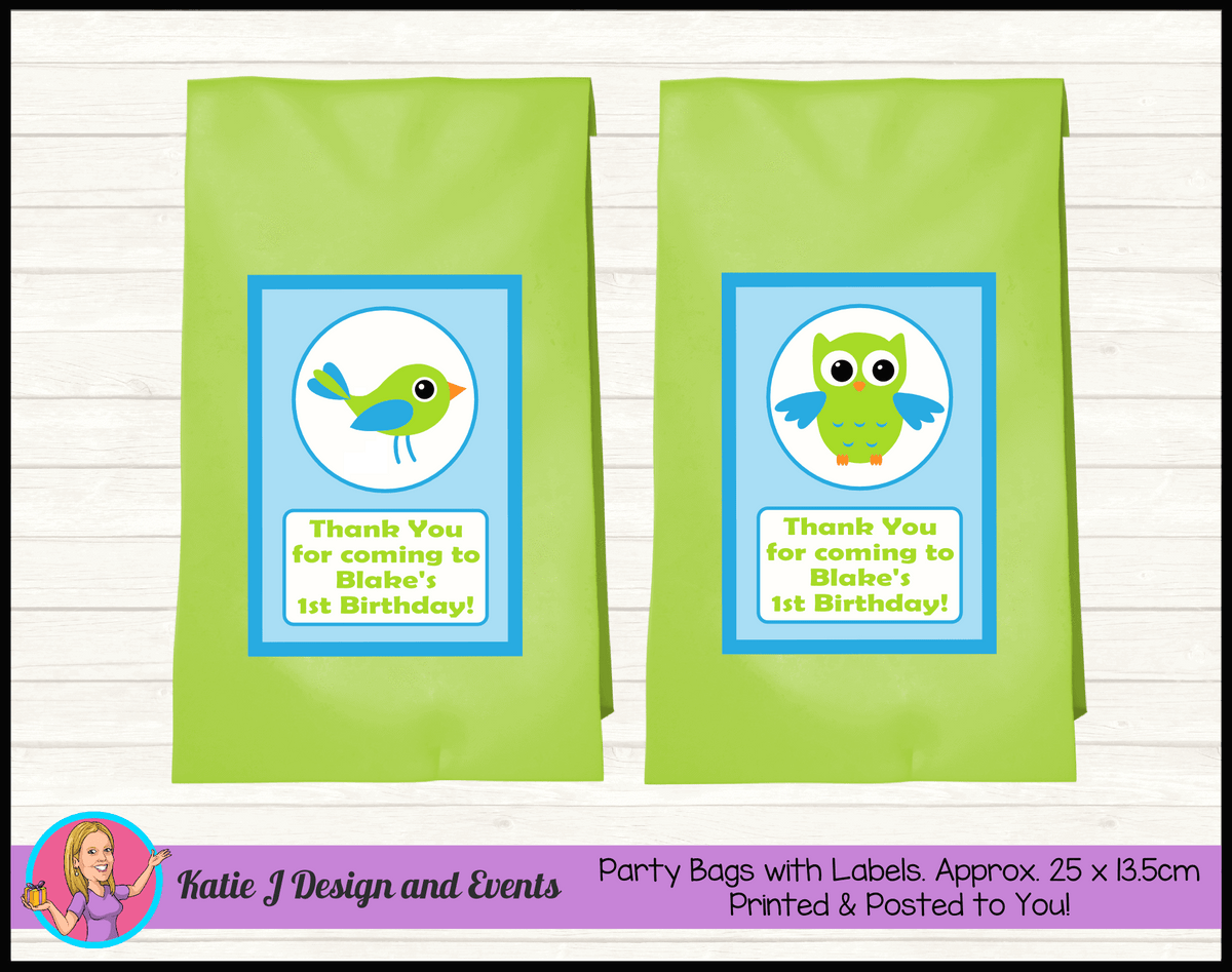 Boys Birds Owl Personalised Birthday Party Loot Bags