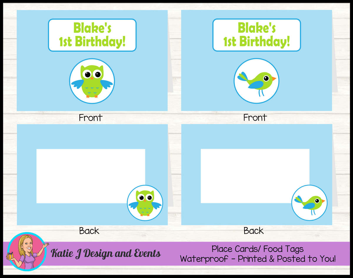 Boys Birds Owl Personalised Birthday Party Place Cards