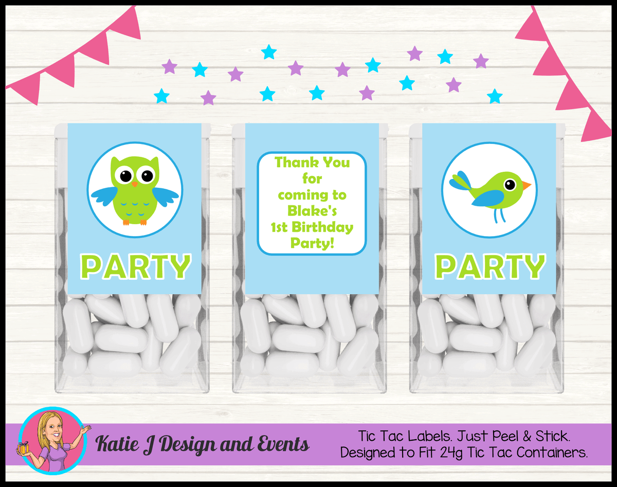 Boys Birds Owl Personalised Birthday Party Tic Tac Labels
