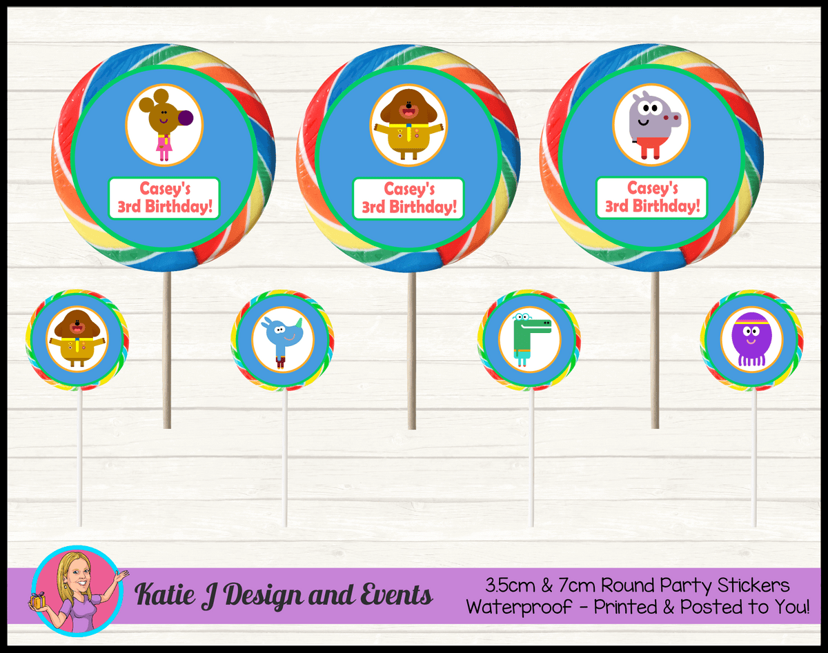 Personalised Hey Duggee Birthday Party Round Lollipop Stickers