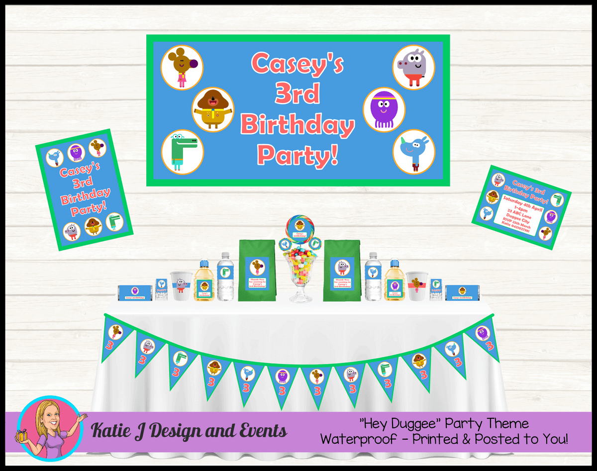 Personalised Boys Hey Duggee Party Packs Decorations Supplies