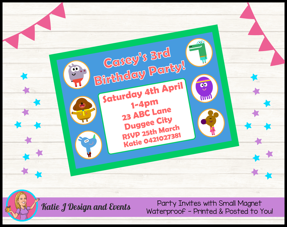 Personalised Hey Duggee Birthday Party Invites Invitations