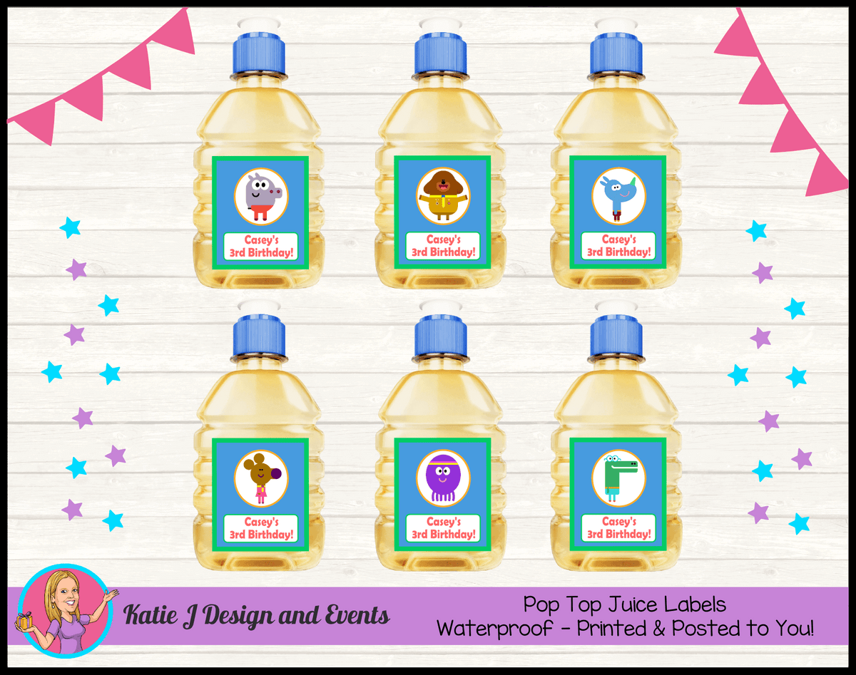 Personalised Hey Duggee Birthday Party Pop Top Juice Labels