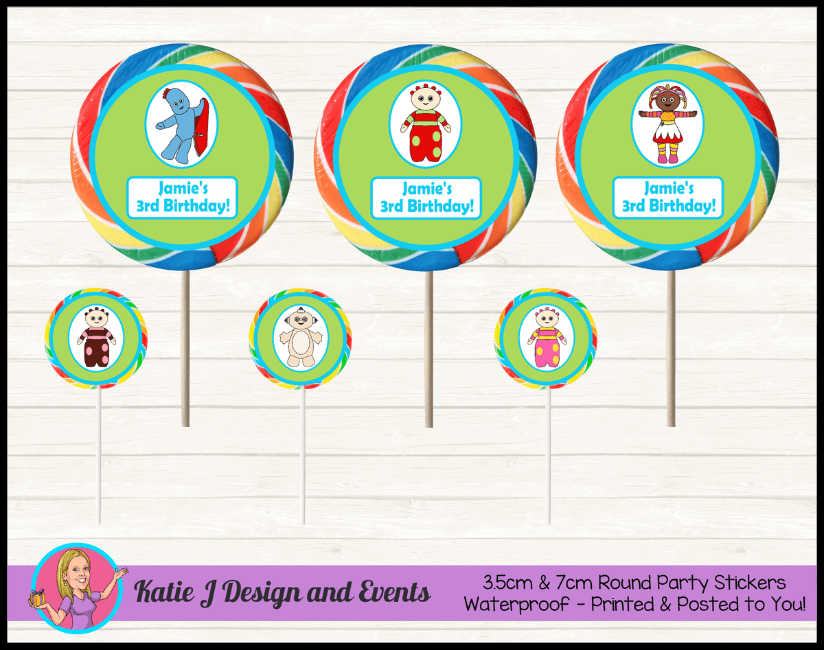 Personalised Boys In the Night Garden Party Round Lollipop Stickers