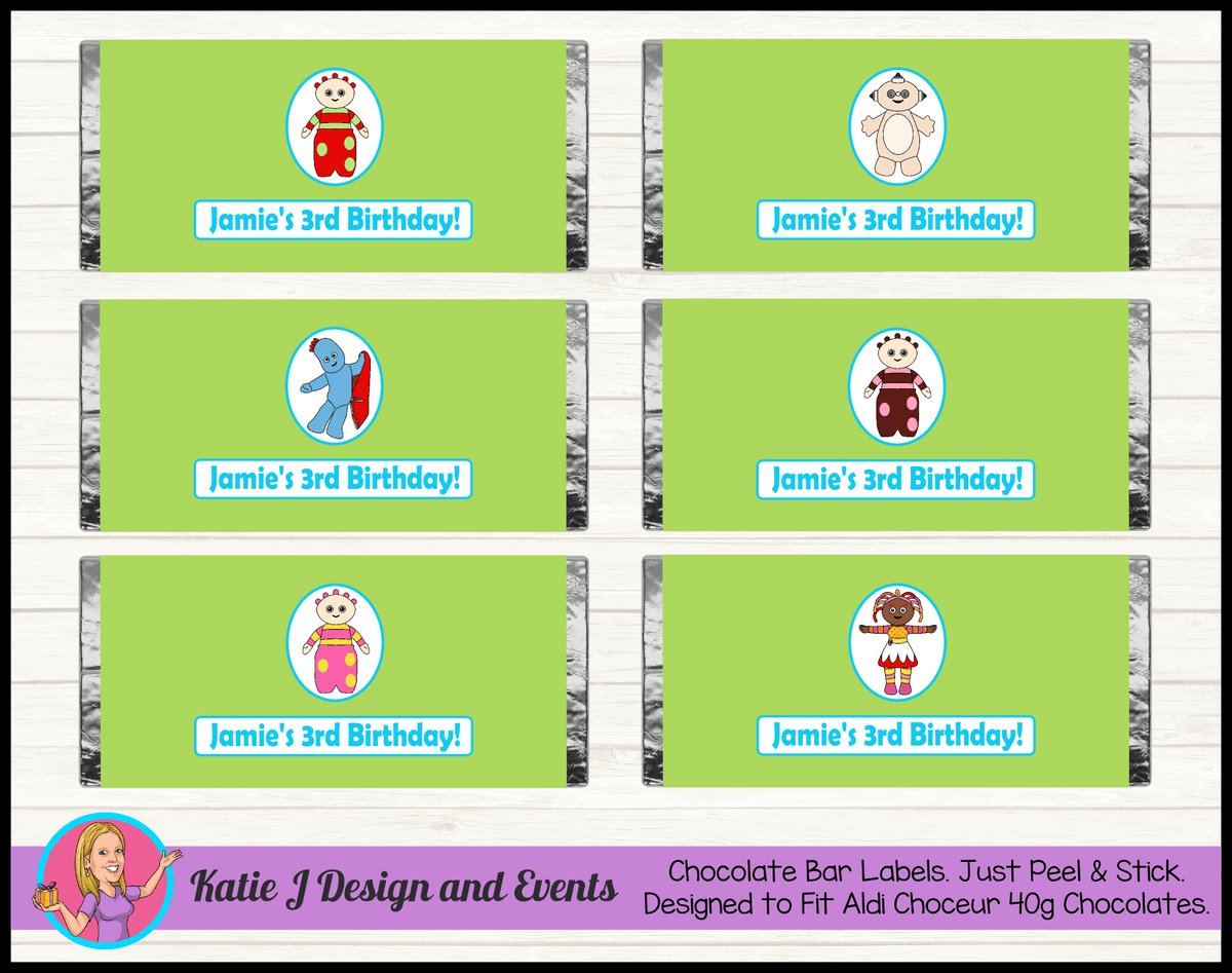 Personalised Boys In the Night Garden Party Chocolate Labels Wrappers