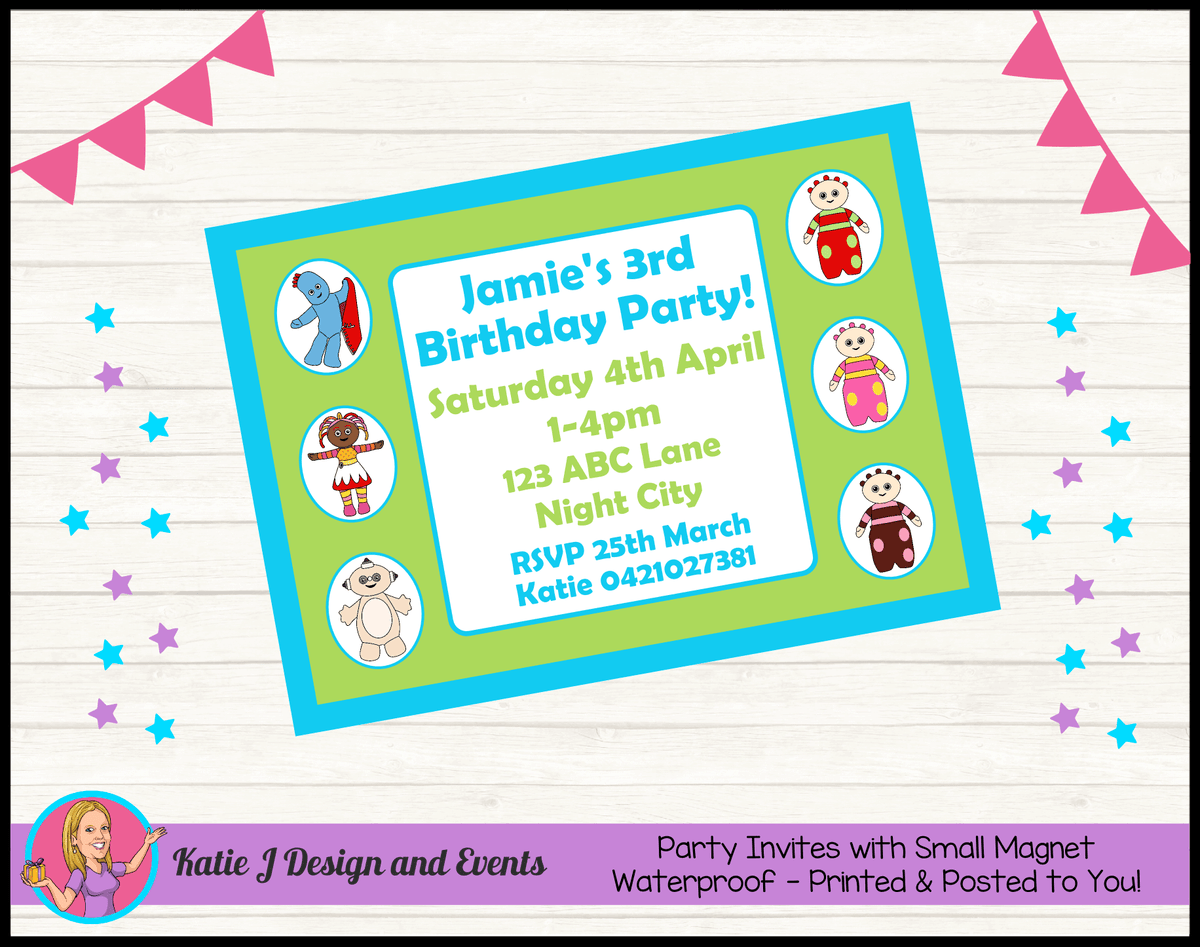 Personalised Boys In the Night Garden Birthday Party Invites Invitations