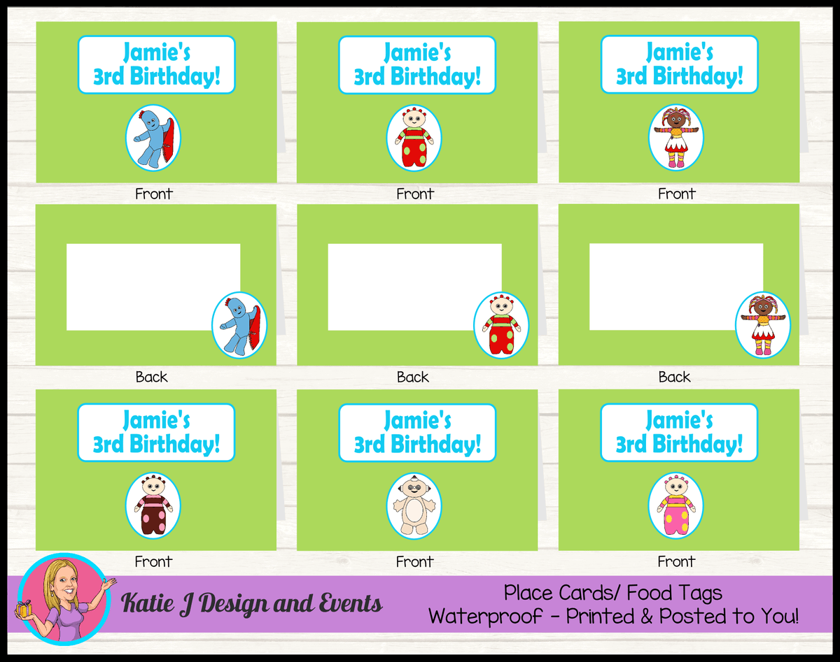 Personalised Boys In the Night Garden Birthday Party Place Cards