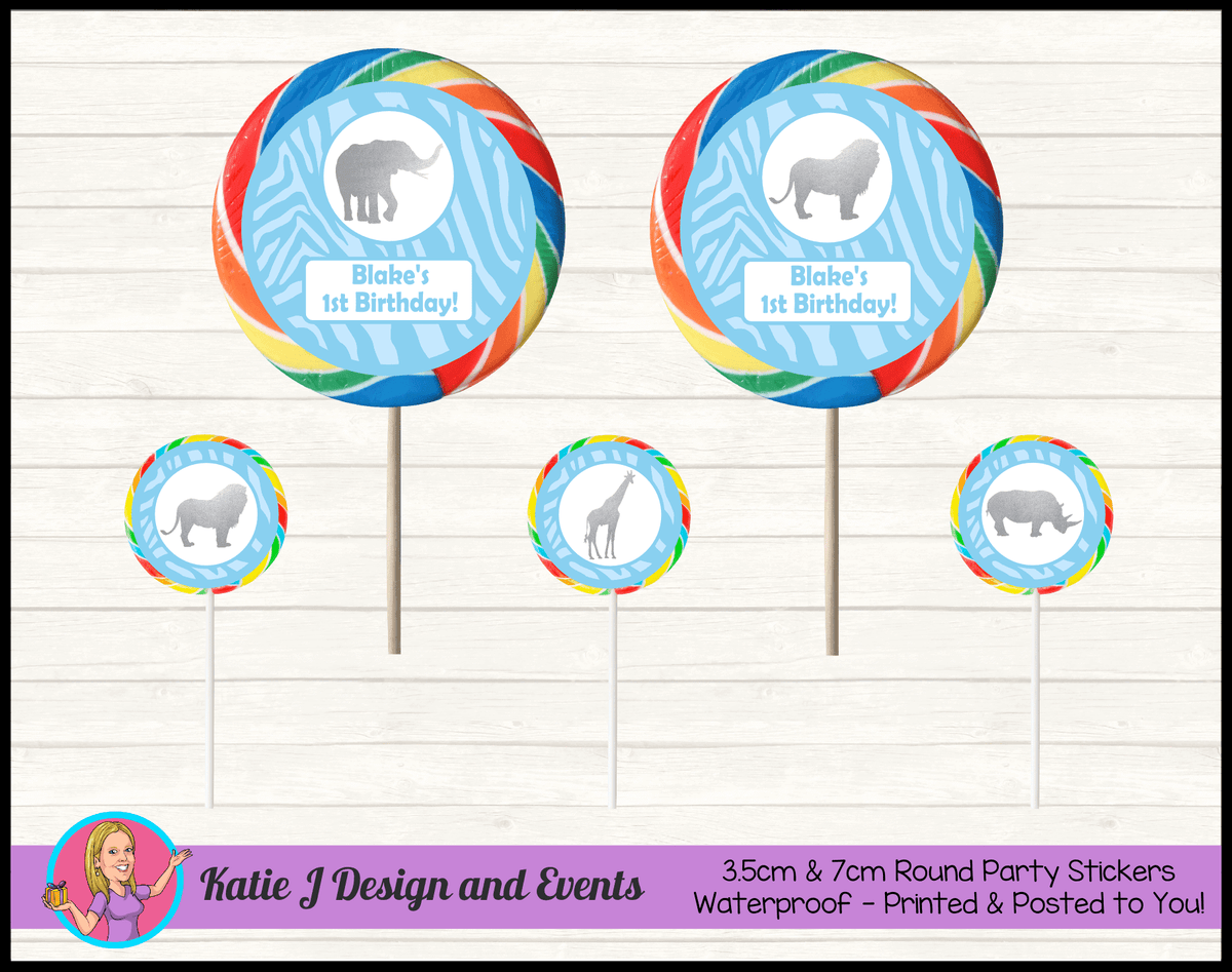 Personalised Blue Silver Jungle Round Lollipop Stickers
