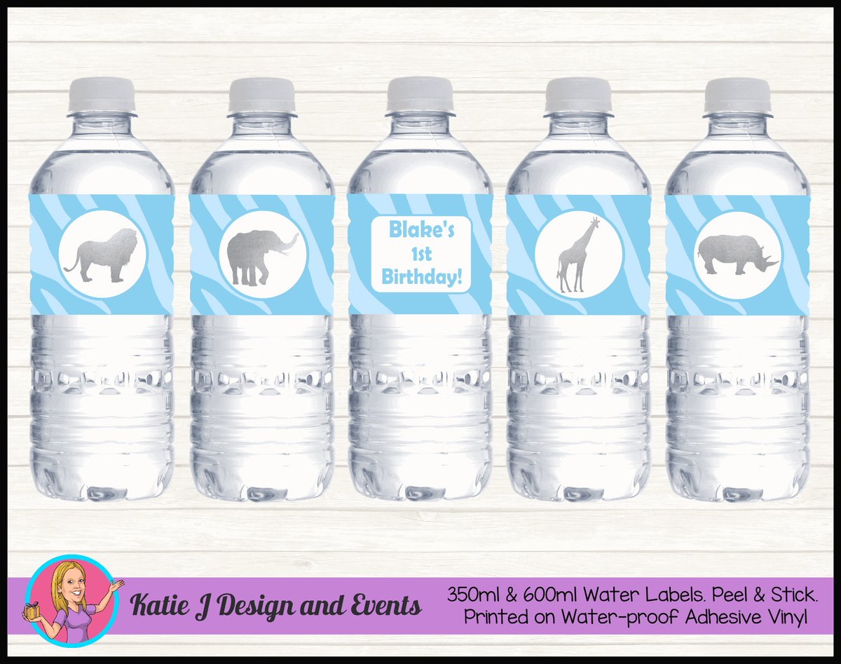 Personalised Blue Silver Jungle Party Water labels