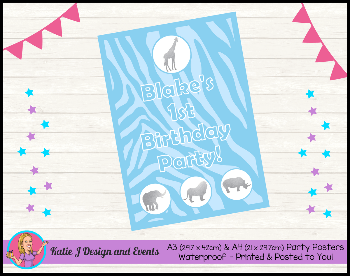 Personalised Blue Silver Jungle Birthday Party Poster