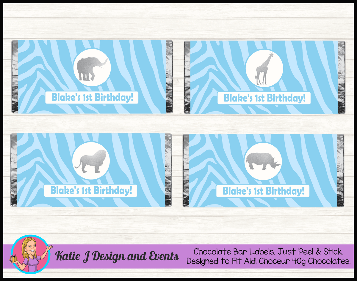 Personalised Blue Silver Jungle Chocolate Labels Wrappers