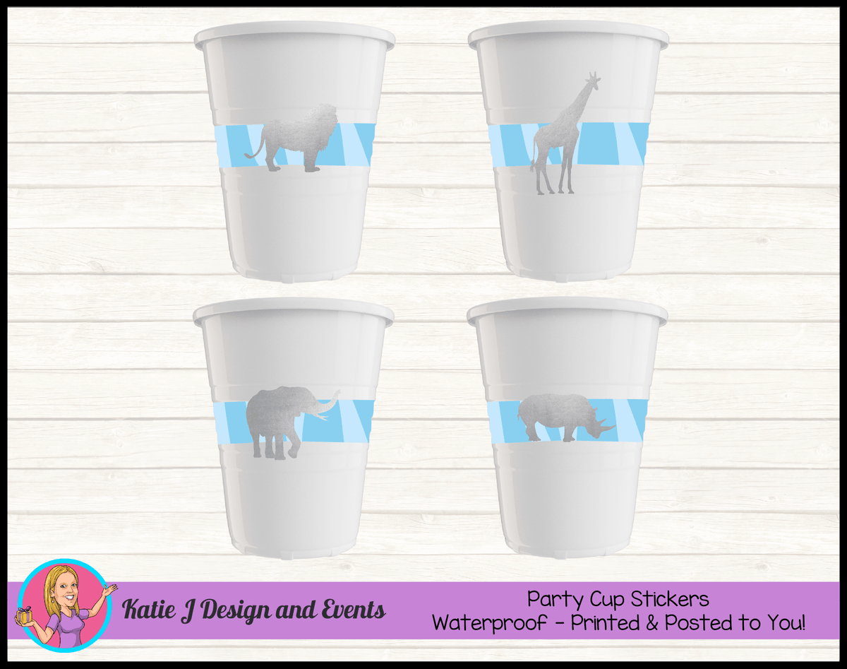 Personalised Blue Silver Jungle Party Cup Stickers Cups