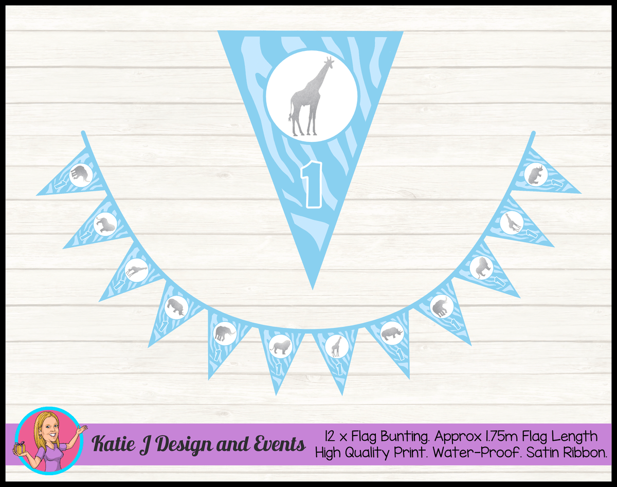 Personalised Blue Silver Jungle Birthday Party Flag Bunting