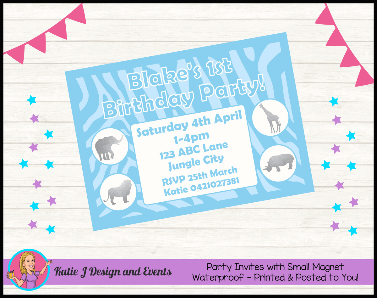 Personalised Blue Silver Jungle Party Invites Invitations