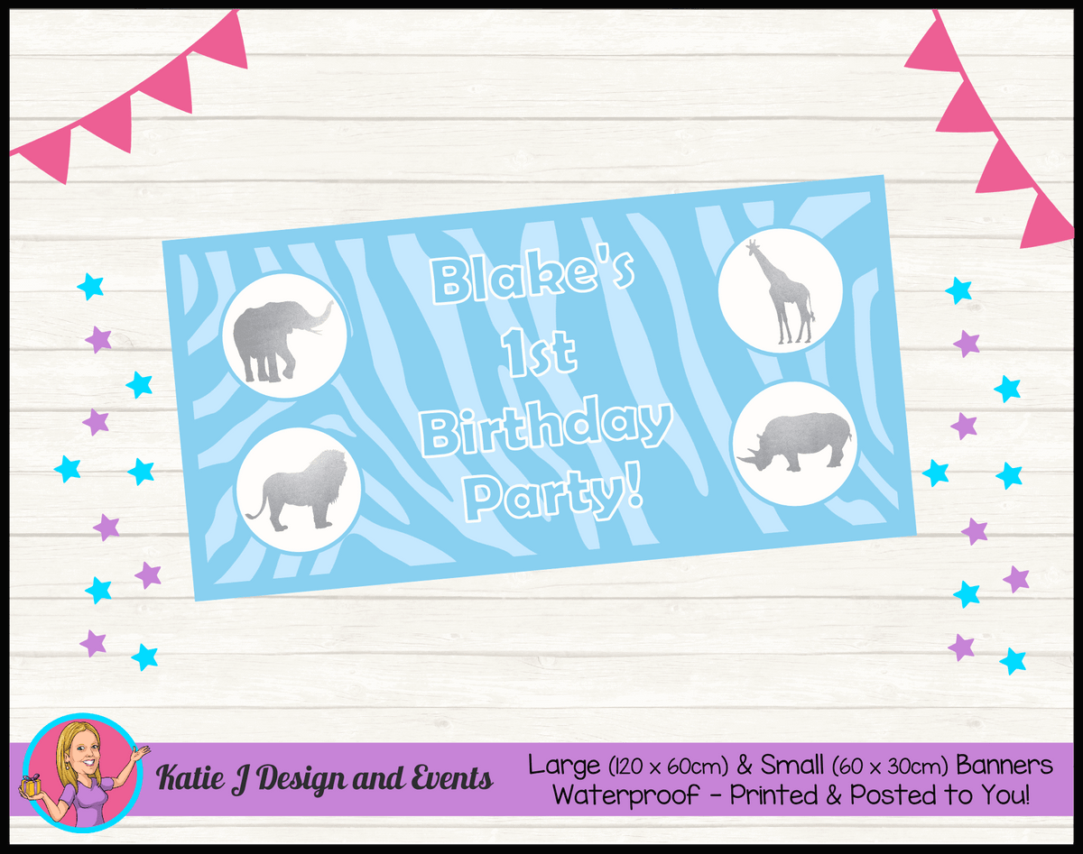 Personalised Blue Silver Jungle Birthday Party Banner