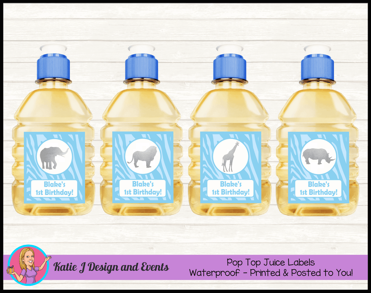 Personalised Blue Silver Jungle Pop Top Juice Labels