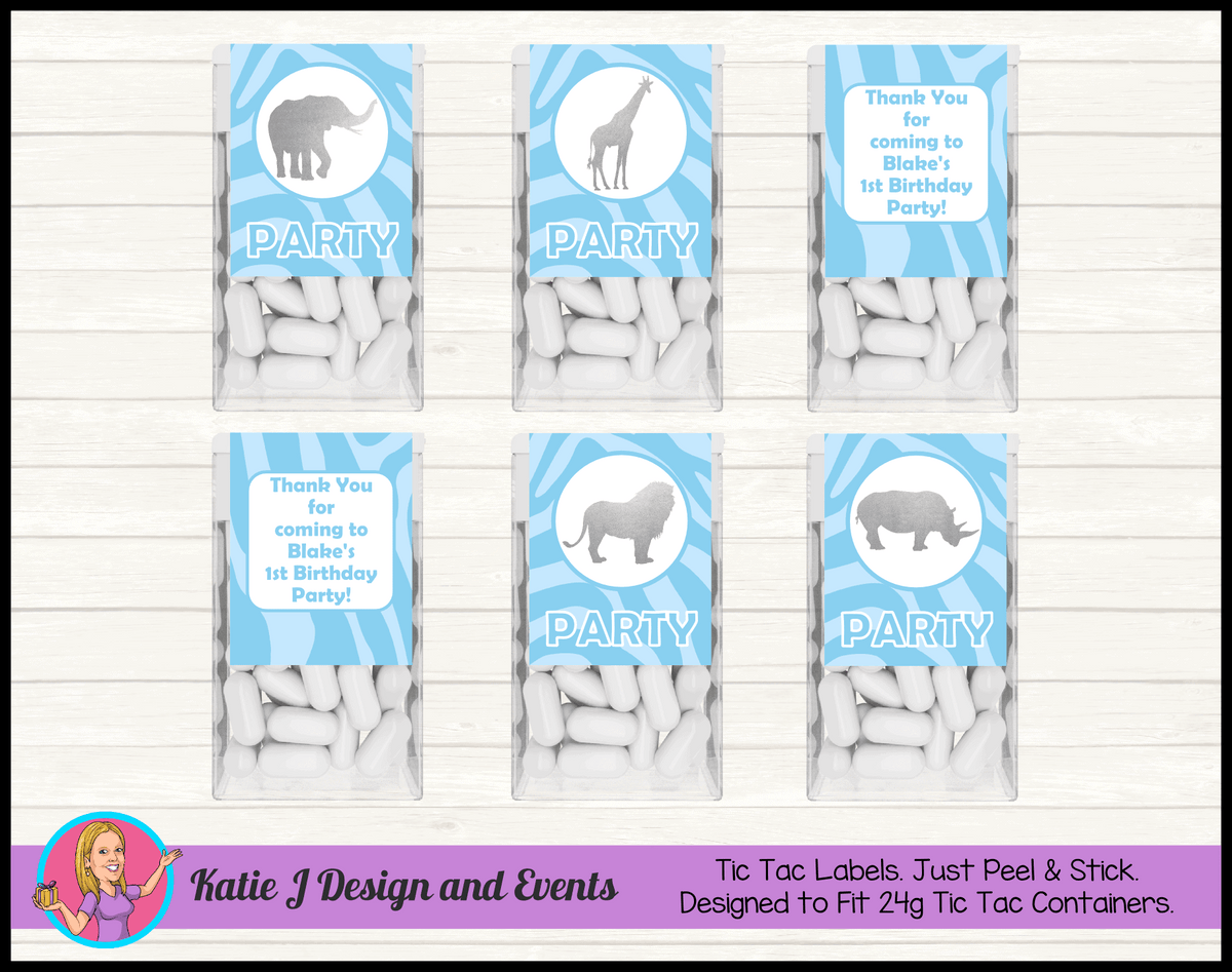 Personalised Blue Silver Jungle Tic Tac Mint labels