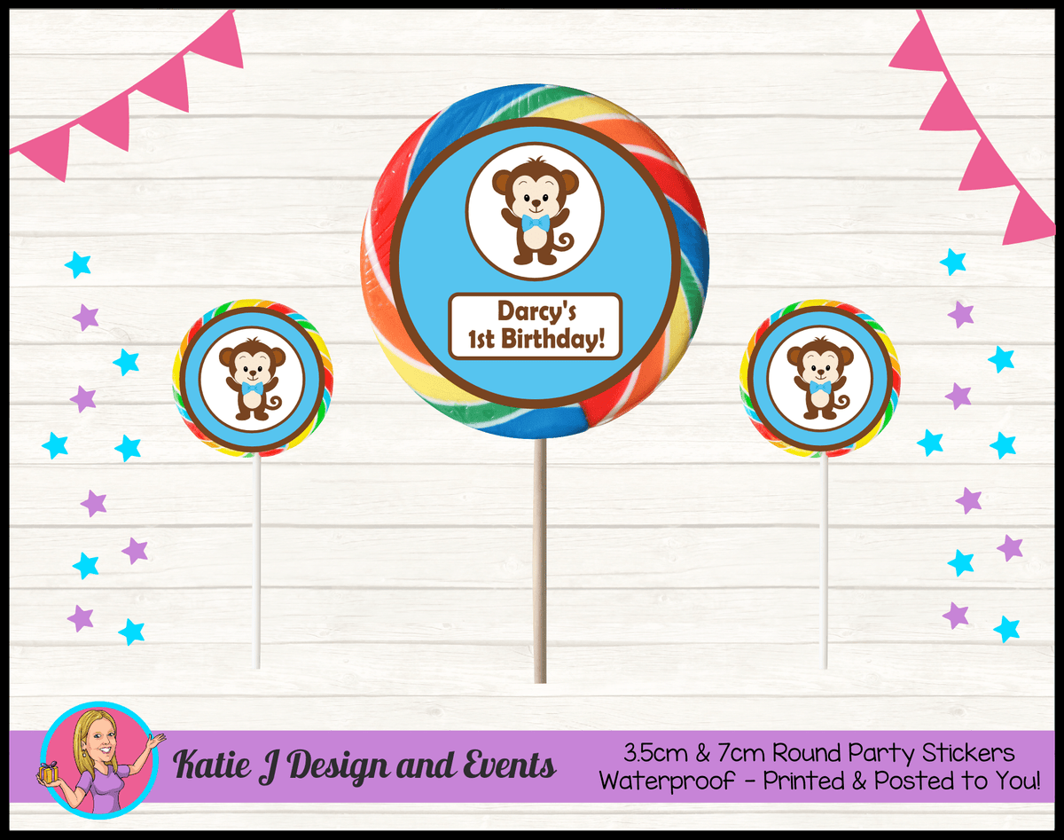 Personalised Boys Monkey Round Lollipop Stickers