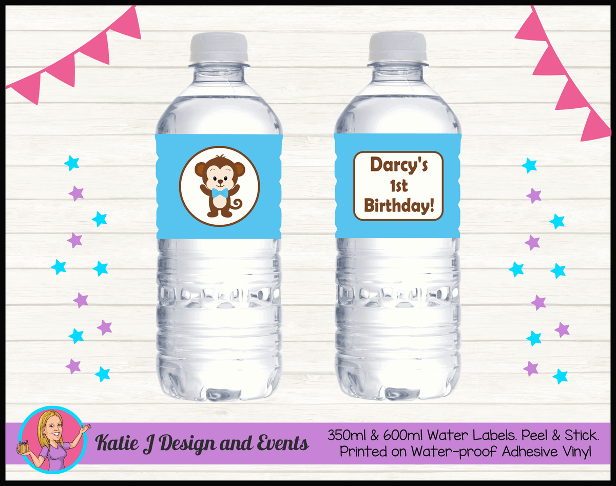 Personalised Boys Monkey Party Water Labels