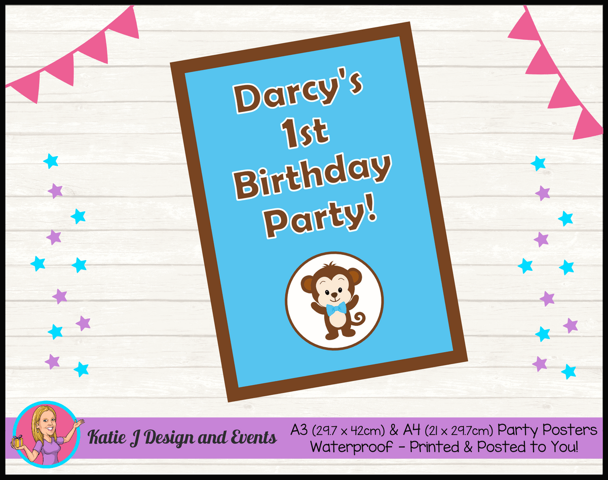 Personalised Boys Monkey Birthday Party Poster
