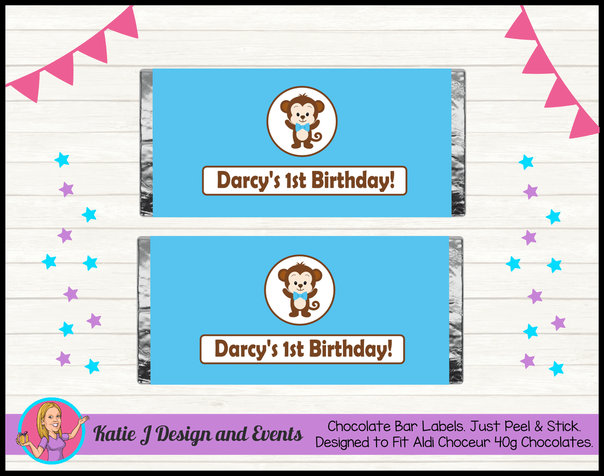Personalised Boys Monkey Party Chocolate Labels Wrappers