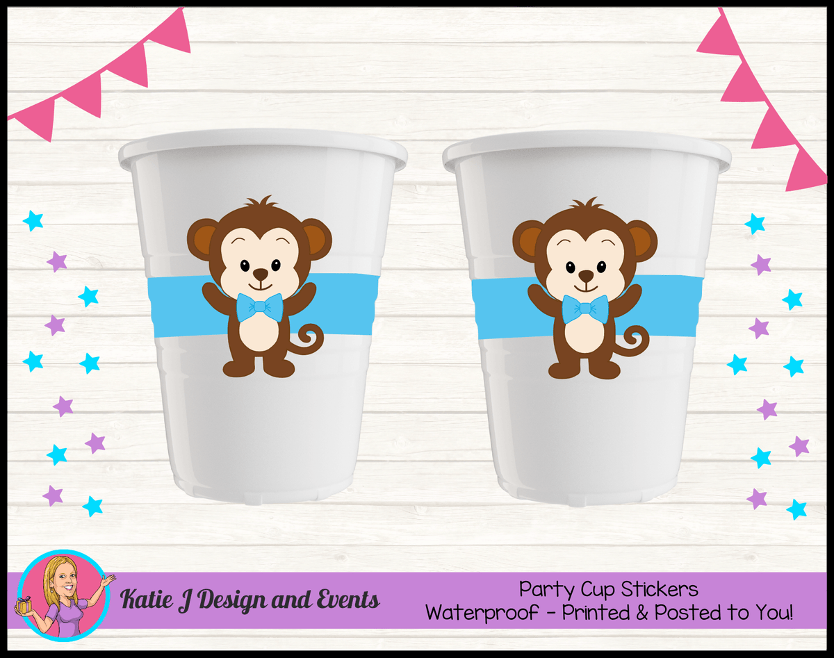 Personalised Boys Monkey Party Cup Stickers Cups